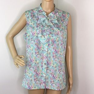 Tahari Mint Green Floral Sleeveless blouse